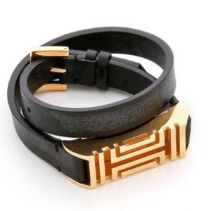 TORY BURCH FITBIT LEATHER BAND | BLACK AND GOLD
